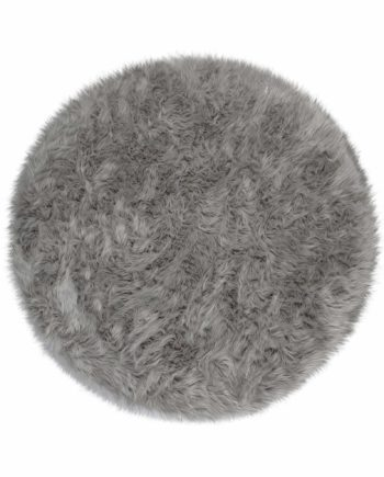 Andessi Rugs Faux Fur Sheepskin Circle Grey 1