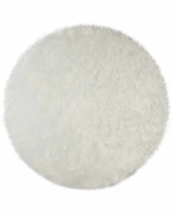 Andessi Rugs Faux Fur Sheepskin Circle Ivory 1